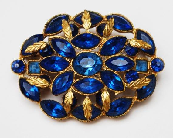 Colbalt Blue Rhinestone Brooch - Oval - Gold Leaf - Floral flower pin - Mid Century