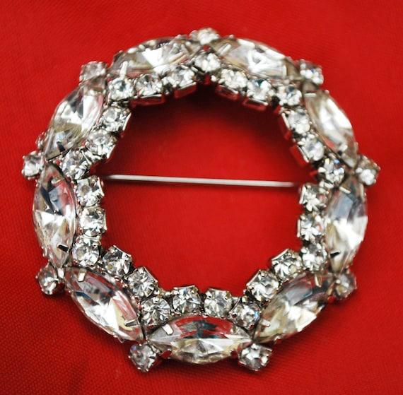 Clear Rhinestone Brooch - silver setting - Domed - Clear Crystal - Wreath Pin - Bride Wedding- Gift for her