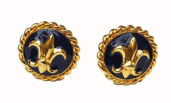 St John  Earrings - Chunky Blue  Enamel Gold - Fleur de Lis  - Clip on earrings -