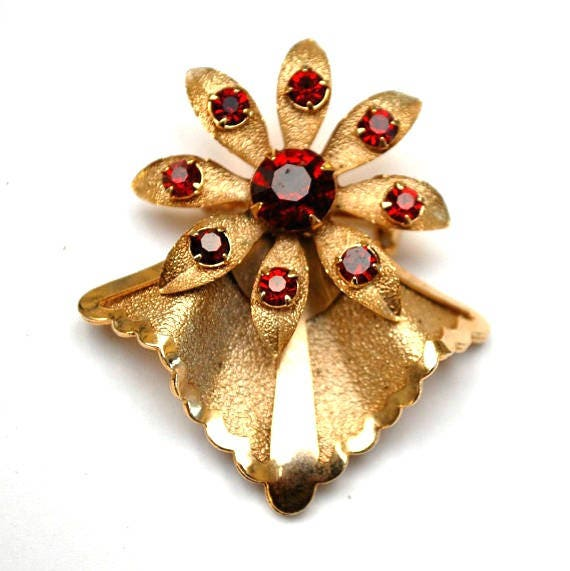Flower Brooch - Red Rhinestone - gold floral pin  - Mid Century  - Atomic