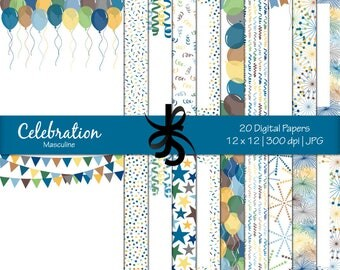 Digital Scrapbook Papers-Celebration-Masculine-Birthday Papers-Party-Balloons-Boys-Confetti-Banners-Backgrounds-Instant Download Clip Art