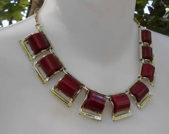 Vintage Red Maroon Lucite Chunky Squares Necklace