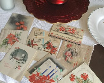 Antique Lot of Eight Used Poinsettia Themed Christmas Cards-1930's-Holiday Decorating/Framing/Craft