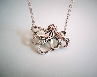Octopus Necklace Squid Necklace Octopus Charm Necklace