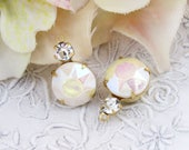 Vintage AB Pearl White & Crystal Swarovski Round Rhinestones Teardrop 18x11mm 1 Ring Drop Brass, Matte Black or Antique Silver Settings - 2
