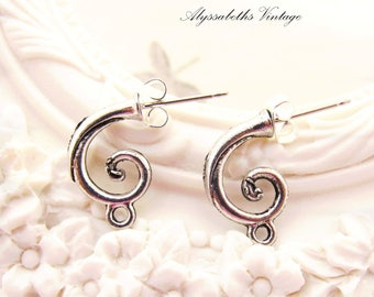 Antique Silver Curled Tendril Hoop Stud Earring Post with Loop Earwire Findings Jewelry Supplies - 2