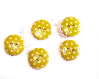 Small buttons 15 mm x 5, lime green wooden has white dots