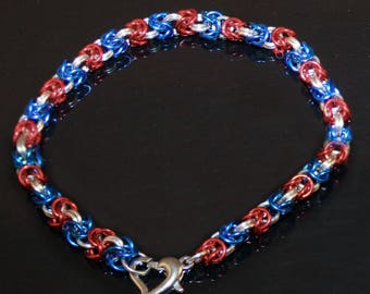 Red White and Blue Byzantine Chainmaille Bracelet -- Patriotic -- 4th of July -- Independence day