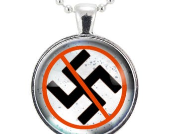 Anti-Nazi Necklace, Anti-Nazism & Anti-Racism Jewelry, End Racism Pendant (2623S25MMBC)
