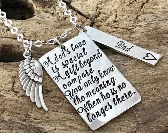 A dad's love is special | Loss of Daddy | Grieving loss of dad | Dad sympathy Gift | Dad sympathy necklace | In loving memory of Dad