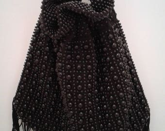 Vintage 1960's Boho Hippie Flapper Black Beaded Fringed Drawstring Sac Clutch Handbag Purse by JEM