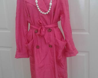 Vintage Chic Pink Belted Trench Rain Coat Made in France