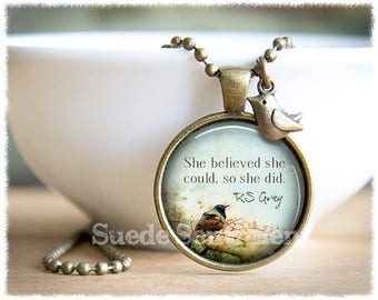 She Believed She Could Necklace • Inspirational Jewelry • Motivation Necklace • Graduation Gift • Encouragement Jewelry
