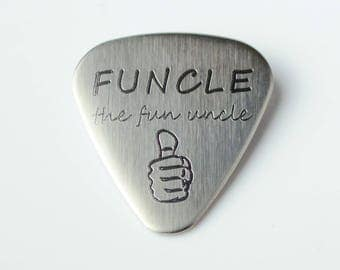 Father's Day Gift for uncle, Personalized Guitar Pick, funcle Guitar Pick, Custom guitar pick, actual handwriting guitar pick funny gift dad