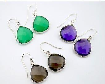 ON SALE Gemstone earrings, Purple Amethyst Earrings, Green Onyx Earrings, smokey Dainty Earrings Silver Earrings, Dangle Earring, pear drop