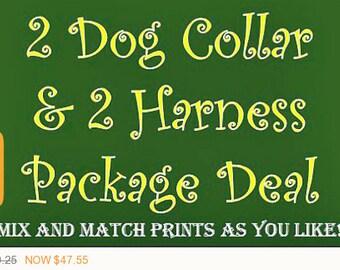 Puppy Love Sale - 40% Off 2 Dog Collar & 2 Harness Package - Dog Harness Set - Dog Collar Set