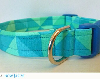 "Sale - 40% Off Modern Dog Collar - Shades of Blue Triangles- ""Jerald"""