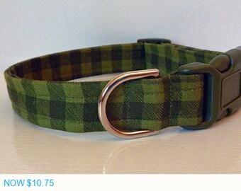 "Sale - 50% Off Dog Collar - Spring Green Plaid Dog Collar ""Stewart"" - Free Colored Buckles"