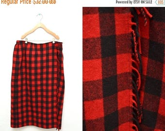 ON SALE 90s Red Plaid Wool Wrap Skirt Fringed Full Length Women's 20 Plus Size