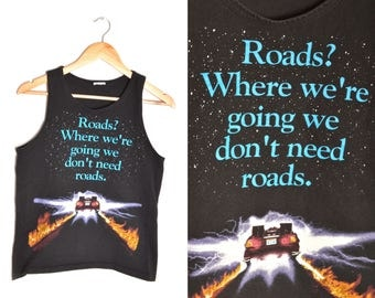 80s Back to the Future Tank Top Black Womens Size Small Delorean Marty McFly Doc