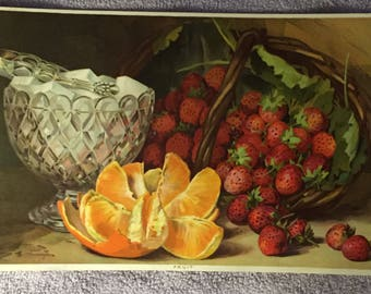 1890s Victorian Still Life FRUIT Lithograph Strawberries Orange Slices Sugar Cubes in a Crystal Bowl