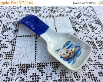 Save 15% OFF Otagiri Seal Pups/Ceramic Spoon Rest/Made in Japan/White Seal Pups/Seal Pups Decor/Otagiri Spoon Rest