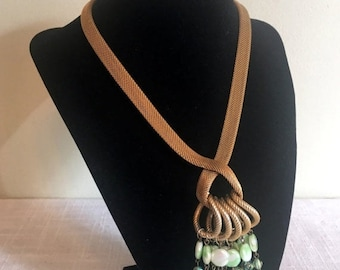 Save 15% OFF Mesh Rope Necklace/Mesh Chain Tassel/St Patrick's Day Green Beads/60's Goldtone Mesh & Green Beads/Runway Necklace//Green Beads