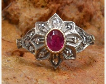 DEADsy LAST GASP SALE Antique Vintage 18K Gold, Ruby & Rose Cut Diamonds Halo Engagement Ring // Edwardian/Victorian 18K White and Yellow Go