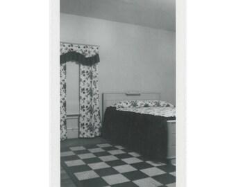 Bedroom Interior, 1955: Vintage Snapshot Photo (77593)