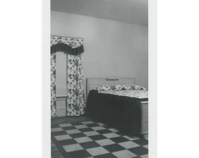 Bedroom Interior, 1955: Vintage Snapshot Photo (77593)