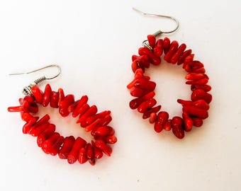 Vintage Red Coral Branch Hoop Earrings