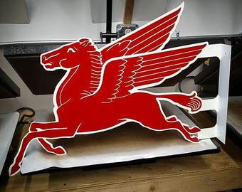Vintage Style Sign Steel Double Sided Flange Mobil Flying Pegasus