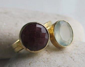 30% OFF Stack Ruby Ring- Quartz Ring- Topaz Rings- Stone Rings- Stack Stone Ring- Ring- Chalcedony Ring- Gemstone Ring- Stacking Ring