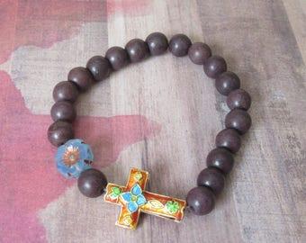 Handmade Cloisonné Sideways Cross with Czech Crystal Flower & Brown Beads