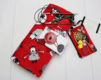 Sheep Circular Needle Case - Knitting Needle Case - Needle Storage - Knitting Supplies - Red Needle Case - Do Ewe Knit - Gift for Knitters
