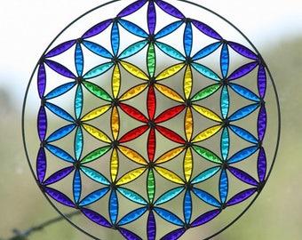 Summer sale 20%Off coupon code: SUMMERSALE2017   Hanging Suncatcher  Mandala  flower of life  chakras color   Sacred geometry  yoga decor