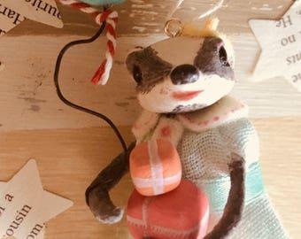 Bella Badger, Cupcakebears, Cupcakebearsandme, Christmas tree decoratie, handgemaakt, papier klei