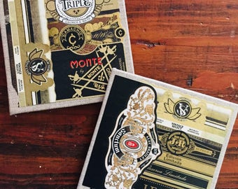 2017 Cigar Band Collage Coasters: Vintage Mixed (set of 2)