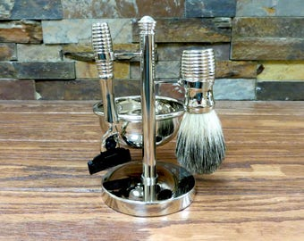 Monogrammed Shaving Set, Personalized Razor, Shaving Brush, Shave Kit, Fathers Day Gift, Christmas Gift, Gifts for Men, Groom, Best Man Gift