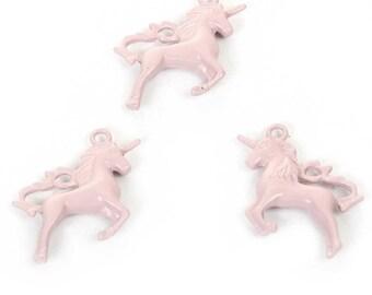 Pink 1 Unicorn pendant, enamelled metal Unicorn charm, 16 mm tropical fairy magical magic