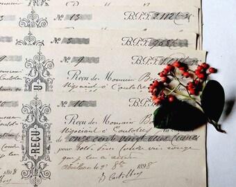 ensemble de 6 reçus anciens datés 1898- 1899.