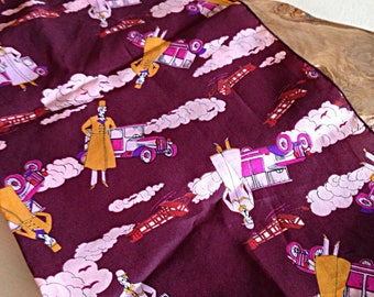 Vintage 1970s Dandy English Gentlemen Old Cars and Planes Novelty Print Scarf