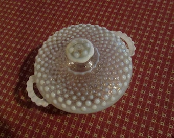 moonstone hobnail opalescent handled covered bowl