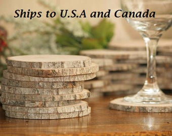 Ships To CANADA: Rustic Wooden Drink Coasters-50 Maple Wooden Slices-3 to 3.5 Inch Diameter, Woodland Weddings, Outdoor Weddings