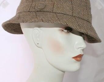 Vintage Fedora MadMan Retro Wool Tweet Men-Women Hat, Made in England, Herringbone Hat - 7 3/8 Size