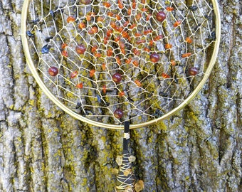 Dark Amber Hand-Woven 5 Inch Bohemian tribal Gold Dream Catcher by The Emerald Lotus