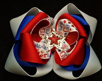 Patriotic Hair Bow....4th of July Bow...July 4th Bow....Red white and blue bow..independence day bow