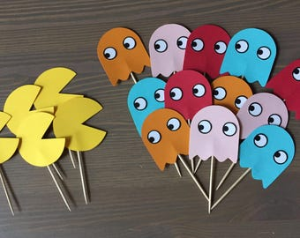 Pacman Cupcake Toppers  Arcade Party Decor  Ms Pacman party