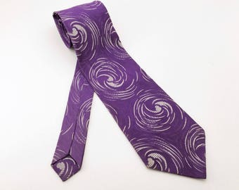 1970s Wide Purple Abstract Tie Mens Vintage Disco Era Textured Woven Acetate or Rayon Wide Necktie with Abstract Designs