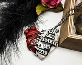 Halloween Frankensteins Monster necklace, Penny Dreadful, Frankenstein necklace, anatomical heart, stitched heart, horror necklace, gothic